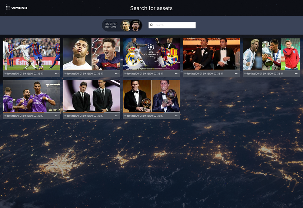 Vimond - Concept2 Enhanced metadata allows search for video content containing Messi and Ronaldo copy